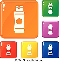 Tube of cream or gel icons set vector color
