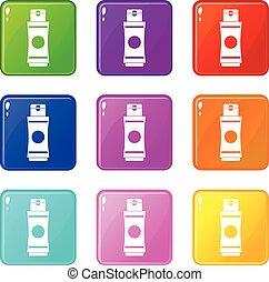 Tube of cream or gel set 9 - Tube of cream or gel icons of 9...