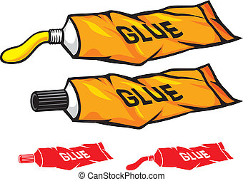 tube of glue (tube with glue, glue tube)