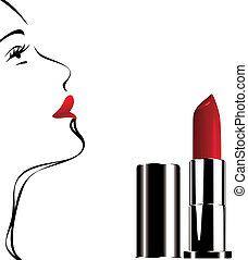 tube of red lipstick and woman face silhouette