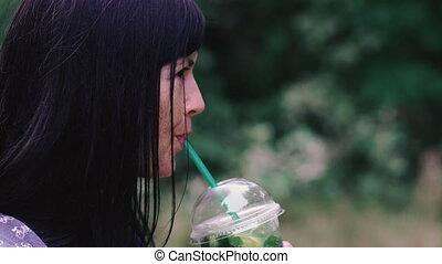tube., plastique, boissons, girl, drink., boisson, verre