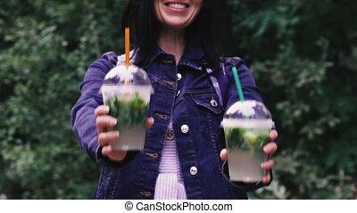 tube., verre, boissons, drink., plastique, boisson, girl