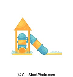 Tube water slides with pools. Fun attraction for kids. Flat vector illustration isolated on white background.