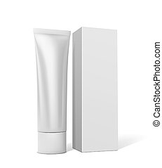 Tube with cream or toothpaste with square white packaging on a white background