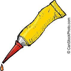 tube with glue - hand drawn, vector, cartoon image of tube...