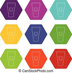 Tube with sunbathing cream icons set 9 vector - Tube with...