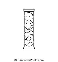 Tube with three tennis balls icon, outline style