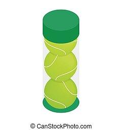 Tube with three yellow tennis balls icon