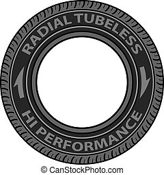 tubeless, vector, neumático, radial