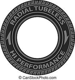 tubeless, vektor, reifen, strahlig