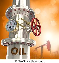 tubería, concepto, -, aceite