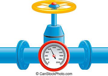 tubería de gas, válvula, y, presión, metro