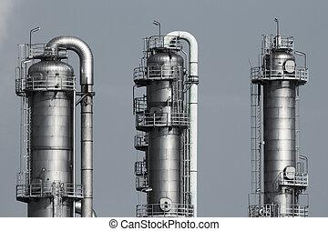 tuberías, de, un, aceite y gas, refinería, planta industrial