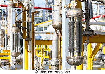 tuberías, en, aceite y gas, plataforma