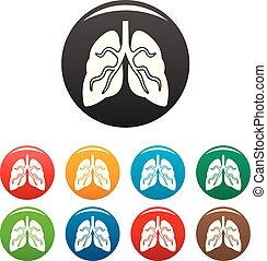 Tuberculosis lungs icons set color