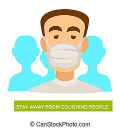 Tuberculosis prevention, man in medical mask, stay away from...