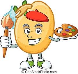 tubero, cartone animato, pittore, sprouted, icona, patata, felice, spazzola