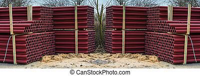 tubes, divers, parc bestiaux