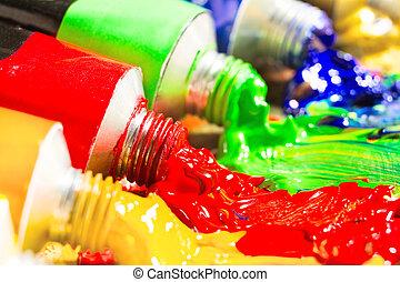 tubes, multicolore, peinture