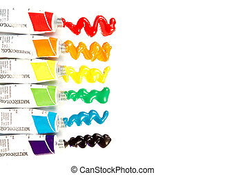 tubes of watercolor paint on white background