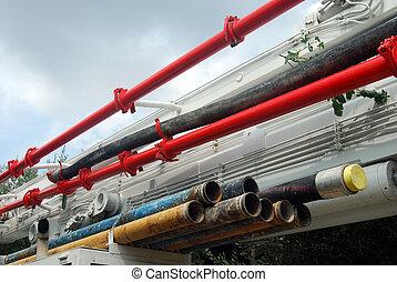 Tubes to a pump truck
