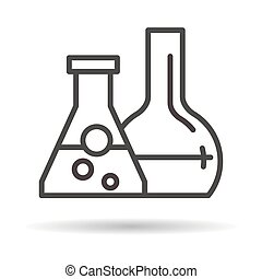 tubes with reagents flat icon on a white background