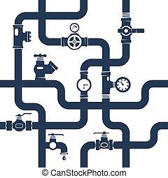 tubi per condutture, concetto, nero, bianco, illustrazione
