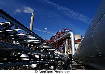 tubi, pianta, ciminiera, potere, tubi per condutture