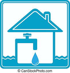 tubo, agua, icono, casa, fau