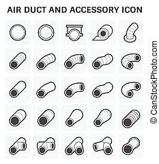 tubo, ar, ícone