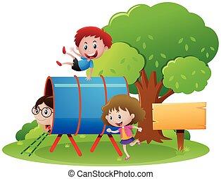 tubo, através, crianças, rastejar