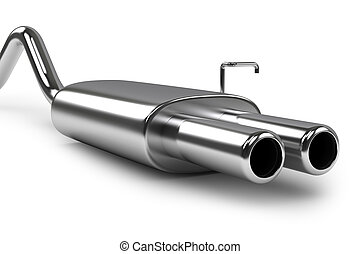 tubo, automóvil, escape