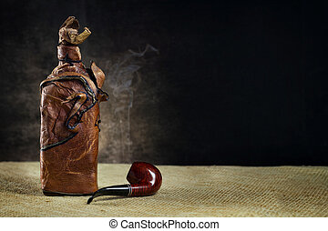 tubo, bottiglia, cuoio, vendemmia, sfondo scuro