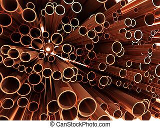 tubo, cobre, fines, 3d