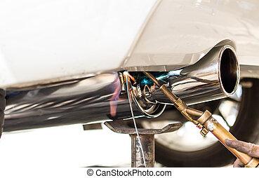 tubo, coches, instalación
