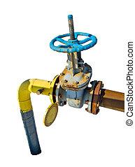 tubo, con, un, válvula, aislado, blanco, plano de fondo