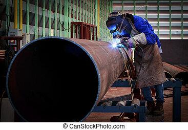 tubo, conduttura, costruzione, saldatura