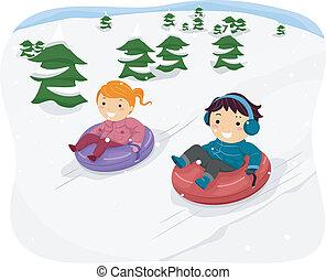 tubo, crianças, neve