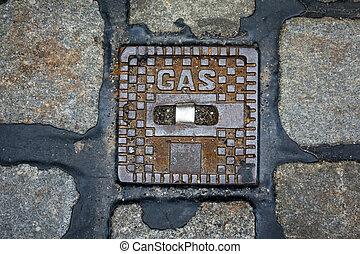 tubo, cubierta, gas