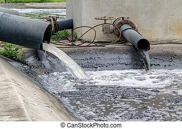 tubo, descargar, industrial, waste., líquido