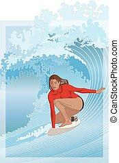 tubo, equitación, plano de fondo, tablista, agua, onda, hembra, tabla de surf