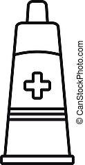 tubo, estilo, icono, contorno, médico