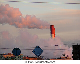 tubo, fábrica, humo