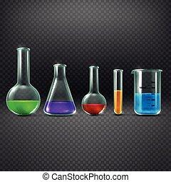tubo, ilustración, químico, equipments, químicos, vector, ...