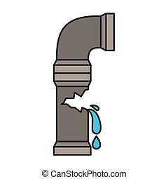 tubo, immagine colore, acqua, rotto