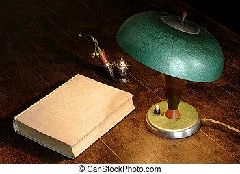 tubo, lampada, vecchio, libro