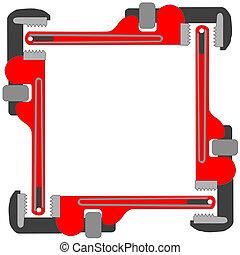 tubo, marco de la foto, llave inglesa