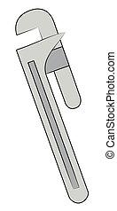 tubo metal, llave inglesa, ajustable