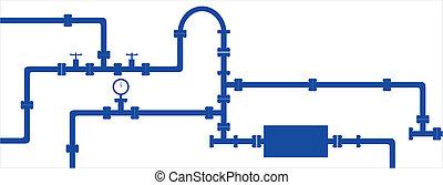 tubo, modello, metallo, seamless