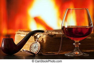tubo, orologio, libro, tasca, brandy, fumo